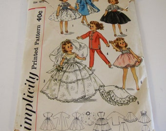 Vintage 1960's Size 10 Doll Clothes Pattern - Simplicity 2254