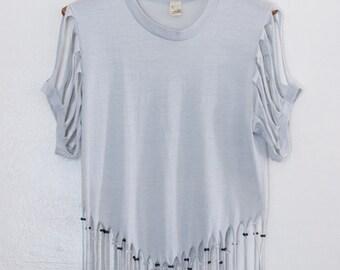 fringed & beaded tshirt - M