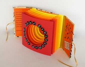 Happy 44th Birthday TUNNEL BOOK CARD Gift ORIGiNAL DESiGN CUSToM ORDeR Handmade Artistic in Yellow Orange Red Shades Home Decor OOaK