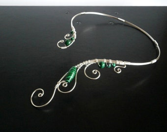 Malachite Necklace, Silver necklace, Wire Collar Statement Necklace, Wire Necklace, Elven Necklace, Unique Necklace