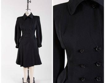 1940s Vintage Coat Black Gabardine Fit and Flare War Era Vintage 40s Princess Coat Military Inspired Size Small