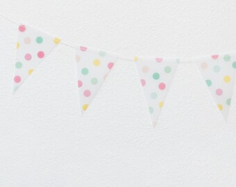 Colorful Polka Dot / White Vellum Mini Pennant Garland - 8 feet with 32 Pennants
