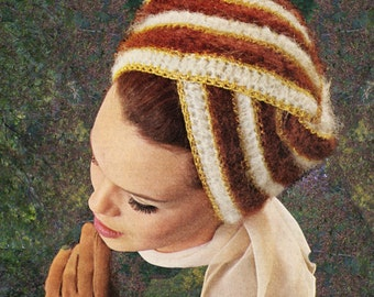 Instant Download PDF Crochet Pattern to make a Chic Womens Turban Bandeau Headband Hair Wrap Pull on Hat Retro Sixties Winter Warmer