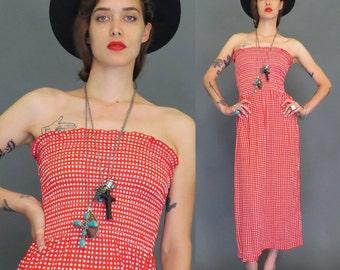 vintage 70s red and white polka dot sundress // boho // hippie