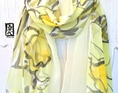 Hand painted Silk Scarf, Etsy ASAP, Gift for her, Double Layered Silk Scarf, Yellow Daffadillies Scarf, Silk Scarves Takuyo, 8x54 inches.