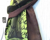Silk Scarf Men, Mens Gift, Gift for Men, Reversible Scarf, Zen Bamboo Scarf, Brown and Chartreuse Green, Silk Scarves Takuyo, 14x72 inches.
