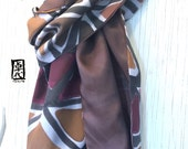 Mens Gift, Mens Scarf, Large Silk Scarf Handpainted, Gift for men, Reversible Scarf, Brown Geometric Wabi Sabi Scarf, 14x72 inches.