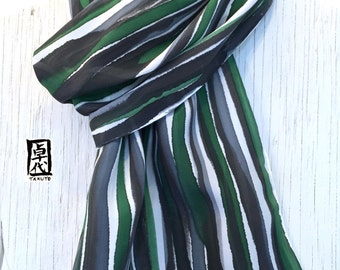 Silk Scarf Men, Mens Gift, Gift for Men, Hand Painted Silk Scarf, Reversible, Green and Black Zen Stripes Scarf, Silk Crepe, 14x72 inches.