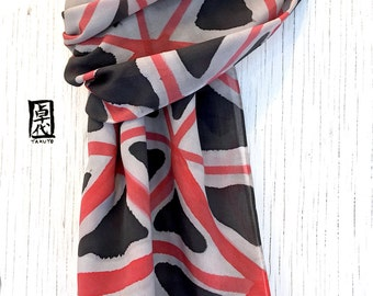 Mens Gift, Silk Scarf Men, Gift for Men, Mens Silk Scarf Hand Painted, Gift for Men, Red and Black Zen Isometric Scarf, Crepe, 14x72 inches.