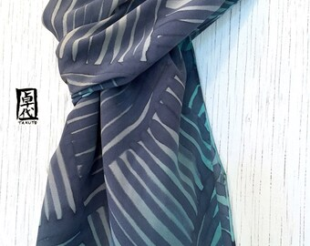 Mens Gift, Large Mens Silk Scarf Handpainted, Gifts for men, Gray and Green Japanese Zen Temple Pavestone Scarf, 14x72 inches.
