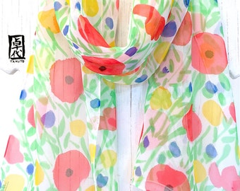 Hand Painted Silk Scarf, ETSY, Chiffon Scarf, Multicolor, Floral Scarf Silk, Red, Blue, Yellow Wildflowers Scarf, 11x60 in. Made to order