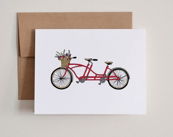 DIY Printable Notecards / Red Bicycle Built for Two / Blank Inside