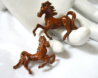 Enameled Horse Scatter Pins, Ponies, Mother and Colt, brown, 1970's, Excellent