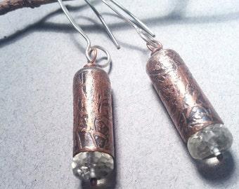 Etched Copper Green Amethyst Earrings