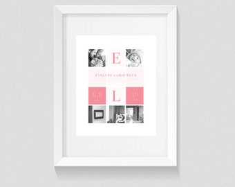 Frame photo personalized cubes / birth