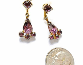 Vintage Rhinestone Earrings Amethyst Dangle and Drop 1940s Screw Backs