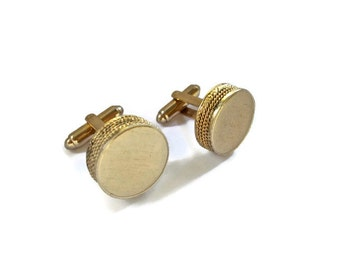 Vintage Cuff Links Dante Burnished Gold Discs Rope Edging 1950s