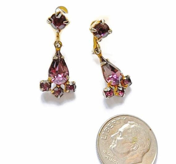 Vintage Rhinestone Earrings Amethyst Dangle and Drop 1940s Screw Backs
