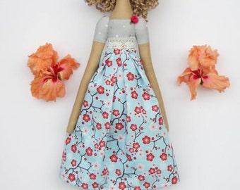Cloth doll Tilda handmade rag doll stuffed doll blue pink gray polka dot blonde cute fabric doll baby shower gift birthday gift for girls
