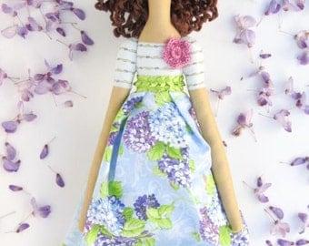 Fabric doll Tilda handmade cloth doll stuffed doll brunette lilac green blue rag doll cute doll gift for girls