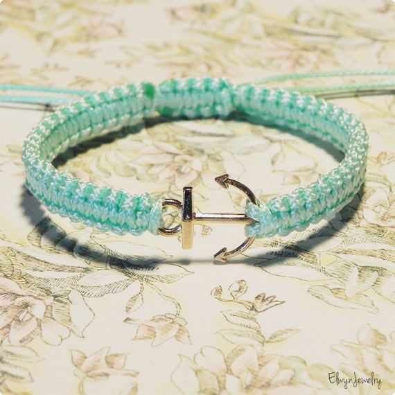 Gold Anchor Bracelet, Nautical Bracelet, Anchor Jewelry, Nautical Jewelry, Mint Bracelet, Macrame Bracelet, Friend Gift, Girlfriend Gift