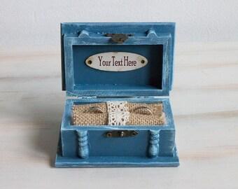 Personalized Ring Bearer Box Wedding Ring Box Ring Keepsake Box Custom Ring Holder Blue Gray Jewelry Box Personalized Box Engraved Ring Box