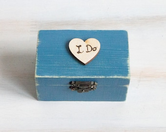 I Do Wedding Ring Box Ring Bearer Box Engagement Box Pillow Alternative Blue Grey Ring Box I Do Personalized Wedding Box Wedding Ring Holder