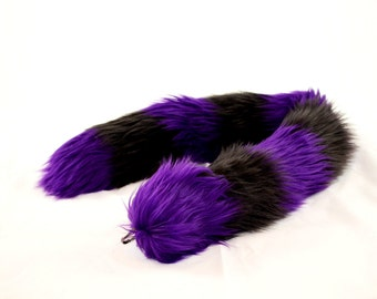 Purple Cat Tail with Black Stripes Faux Fur Kitty Tail