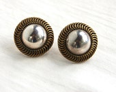 Mexican Post Earrings Sterling Silver and Brass Large Button Earrings Vintage Taxco Mexico Posts Studs Dome