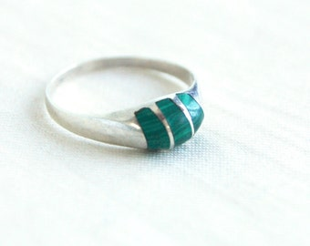 Malachite Ring Size 8 .5 Vintage Green Striped Meixcan Band Made in Mexico Stackable Jewelry
