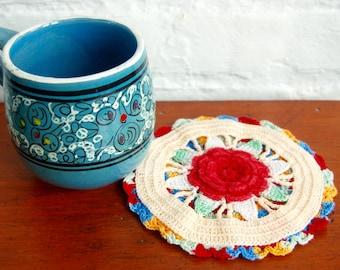 Crocheted Trivet Doily Hot Pad Vintage 1940s War Era Handmade Multicolored Flower Cotton Textile