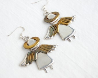 Angel Earrings Vintage Mexican Sterling Silver Brass Mixed Metal Taxco Mexico Holiday Jewelry