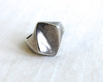 Mexican Modern Ring Size 7.75 Vintage Sterling Silver Abstract Statement Jewelry