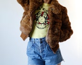 Vintage 80s Fur Coat Caramel Brown Rabbit Fur Bomber Jacket size Small XS