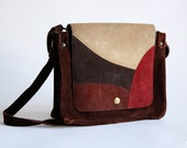 Vintege 70s Brown Suede Boho Purse Leather Handbag