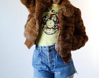 Vintage 80s Fur Coat Caramel Brown Rabbit Fur Bomber Jacket size Small XS - hung