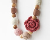 Dusty rose brown beige ivory babywearing nursing necklace with flower Natural baby shower gift  Chunky statement jewelry