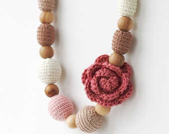 Nursing necklace with flower Dusty rose brown beige Natural chunky statement jewelry Mother's day gift Baby shower for mom Babywearing
