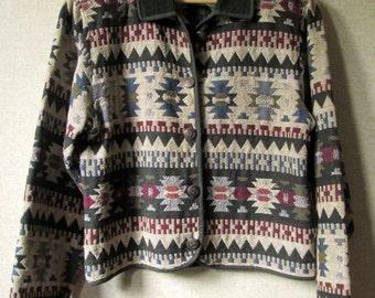 Blanket Jacket woven tapestry boho Southwestern jacket mori girl coat forest green rustic woodsy cotton jacket vintage 90s women large