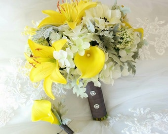 Wedding Natural Touch Yellow Calla Lilies Tiger Lilies Silk Ivory Anemones Hydrangeas Grey Dusty Miller Leaves Silk Wedding Bouquet Set