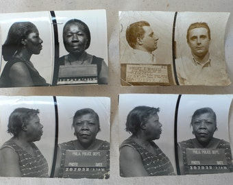 vintage photographs, mugshots, Philadelphia Police,1960's group of 4, from Diz Has neat Stuff