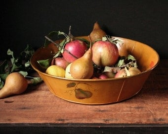 Toleware bowl, hand painted tin bowl, large fruit bowl, vintage tole ware, harvest gold