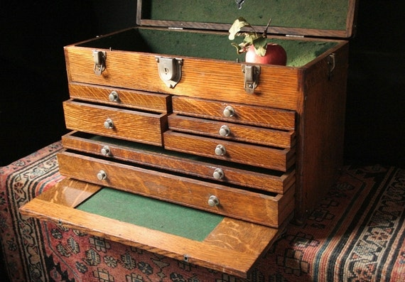 Vintage Gerstner Amp Sons 7 Drawer Oak Machinist Tool Chest