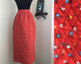 Fireside Florals // 1960s Ditzy Print Red Quilted Skirt