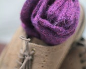 Knitted Wool socks - Hand Made Plum tweedish SILK and MOHAIR winter socks Hipster MENS socks. Large size. Hand finished and made Dress socks