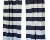Large Striped Curtains- Pair of Drapery Panels- Premier Prints Cabana Curtains- 63 84 90 96 108 120 inch Drapes- Horizontal Navy Blue