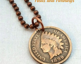 Antique Indian Head penny COIN necklace - Native American - American Shield - Liberty - USA history - man necklace - mens jewelry -