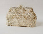 Alencon Lace Silk Gold Purse / wedding bag / bridesmaid clutch / Glam Bridal clutch /  Evening clutch / Formal Party Purse / Gatsby