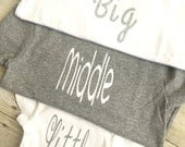 Big, Middle or Little / brother shirt / little onesie®  / middle shirt /  family photos / pregnancy announcement / gender reveal