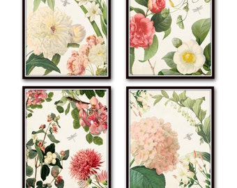 Spring Study No. 2 French Collage Print Set, Giclee, Art Prints, Wall Art, Antique Botanical Prints, Collage, Flower Prints, Illustration